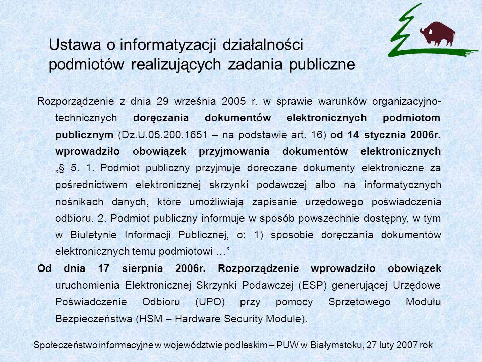 Ustawa o informatyzacji działalności podmiotów realizujących zadania publiczne