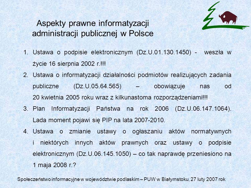 Aspekty prawne informatyzacji administracji publicznej w Polsce
