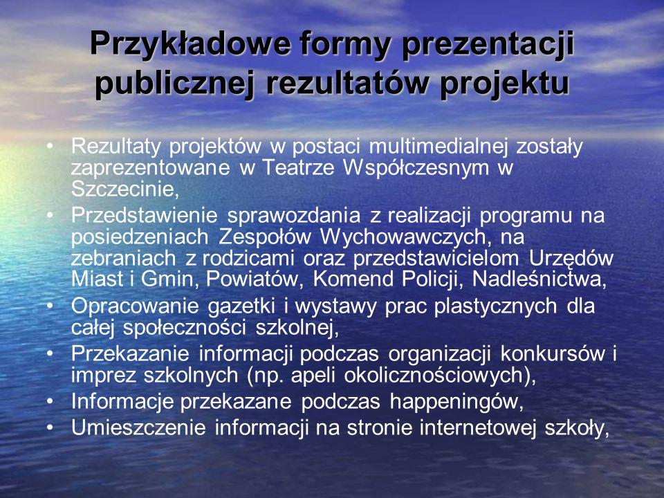 Przykładowe formy prezentacji publicznej rezultatów projektu