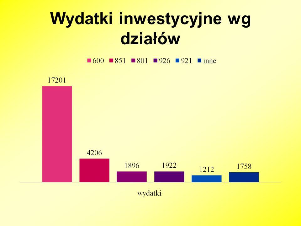 Wydatki inwestycyjne wg działów