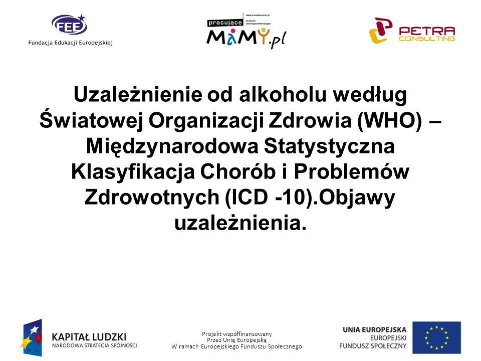 Uzależnienie od alkoholu według Światowej Organizacji Zdrowia (WHO) – Międzynarodowa Statystyczna Klasyfikacja Chorób i Problemów Zdrowotnych (ICD -10).Objawy uzależnienia.