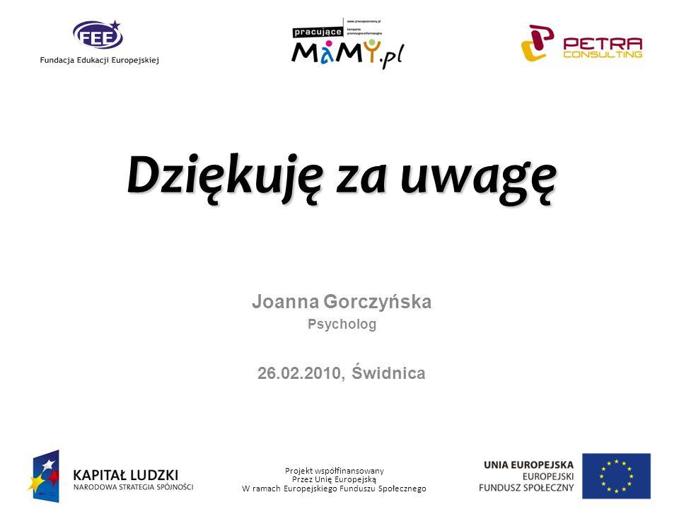 Joanna Gorczyńska Psycholog 26.02.2010, Świdnica