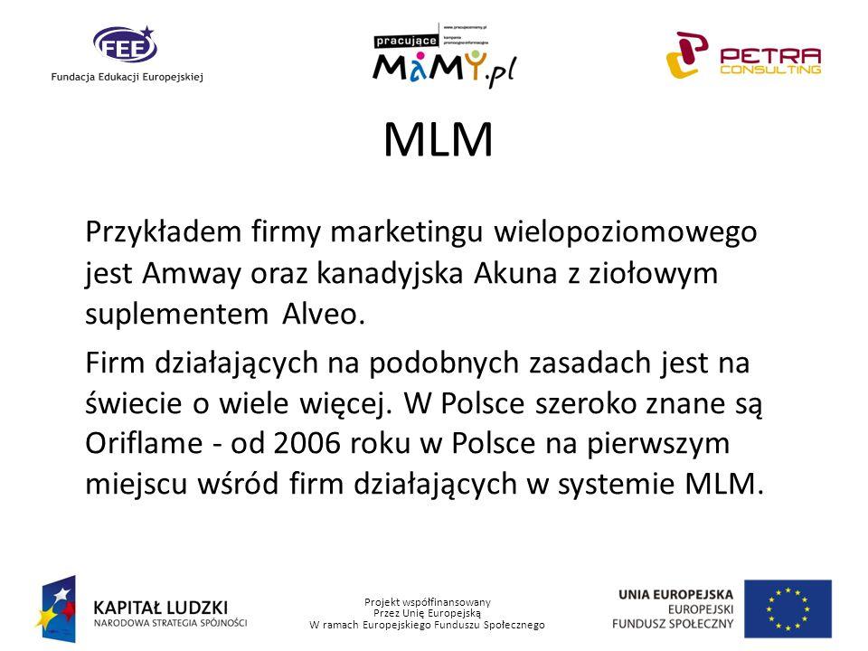 MLM Przykładem firmy marketingu wielopoziomowego jest Amway oraz kanadyjska Akuna z ziołowym suplementem Alveo.