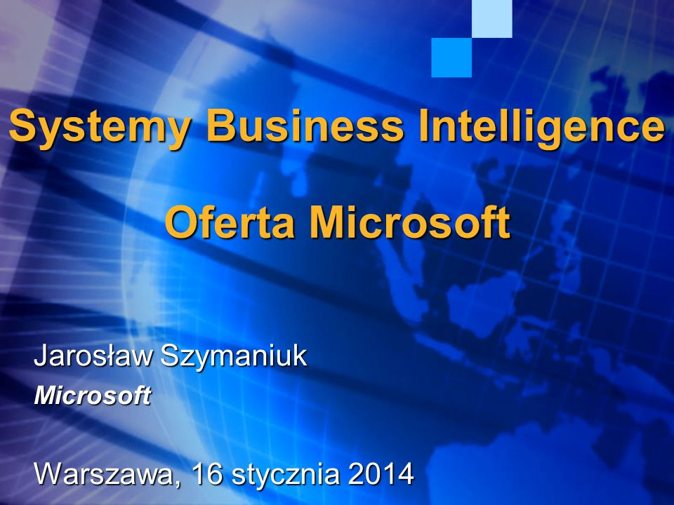 Systemy Business Intelligence Oferta Microsoft