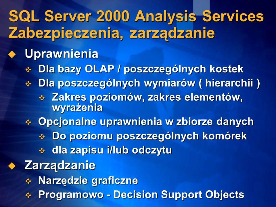 SQL Server 2000 Analysis Services Zabezpieczenia, zarządzanie