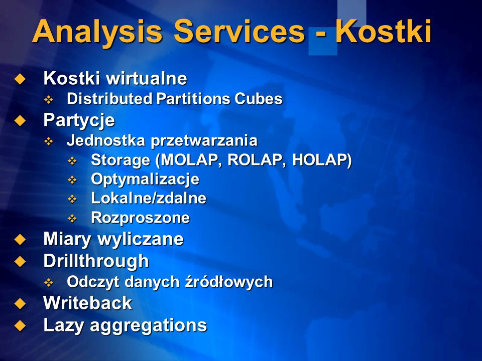 Analysis Services - Kostki