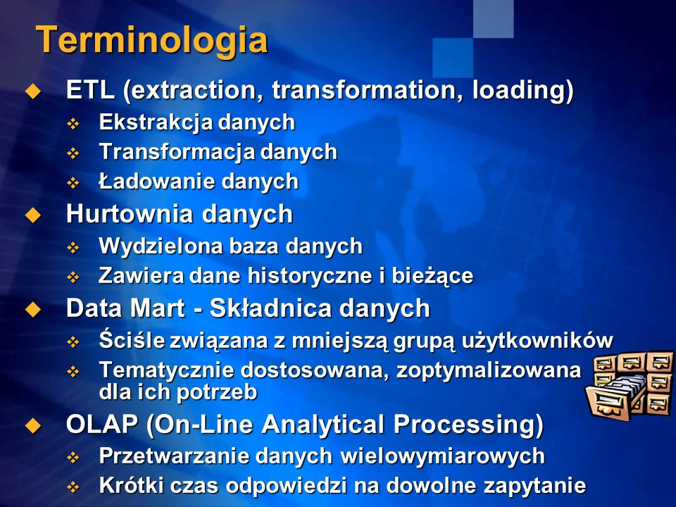 Terminologia ETL (extraction, transformation, loading)