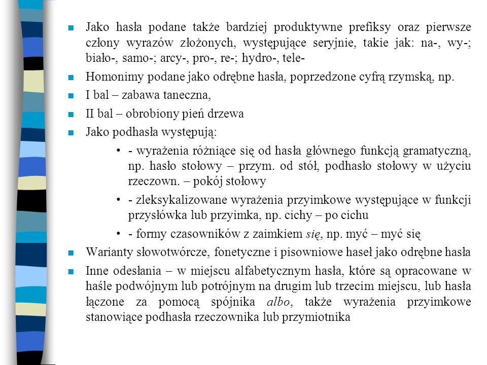Jako hasła podane także bardziej produktywne prefiksy oraz pierwsze człony wyrazów złożonych, występujące seryjnie, takie jak: na-, wy-; biało-, samo-; arcy-, pro-, re-; hydro-, tele-