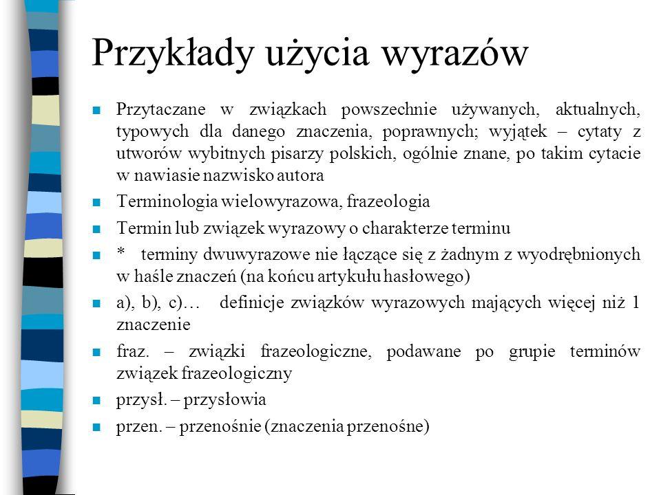 Przykłady użycia wyrazów