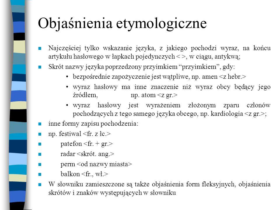 Objaśnienia etymologiczne