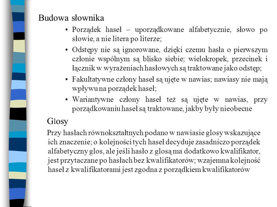 Budowa słownika Porządek haseł – uporządkowane alfabetycznie, słowo po słowie, a nie litera po literze;