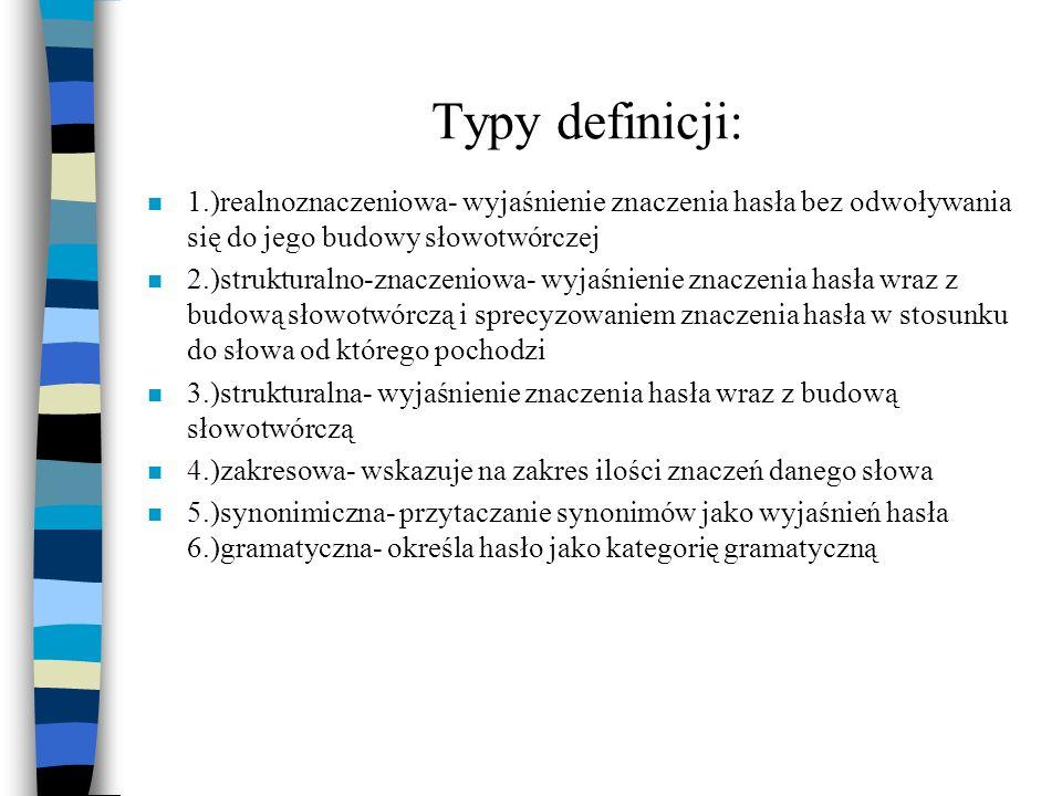 Typy definicji: 1.)realnoznaczeniowa- wyjaśnienie znaczenia hasła bez odwoływania się do jego budowy słowotwórczej.