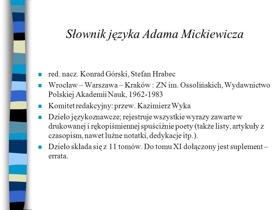 Słownik języka Adama Mickiewicza