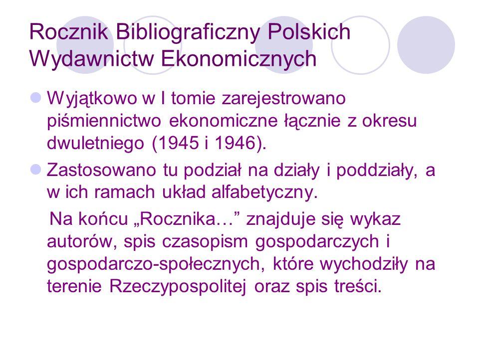 Rocznik Bibliograficzny Polskich Wydawnictw Ekonomicznych