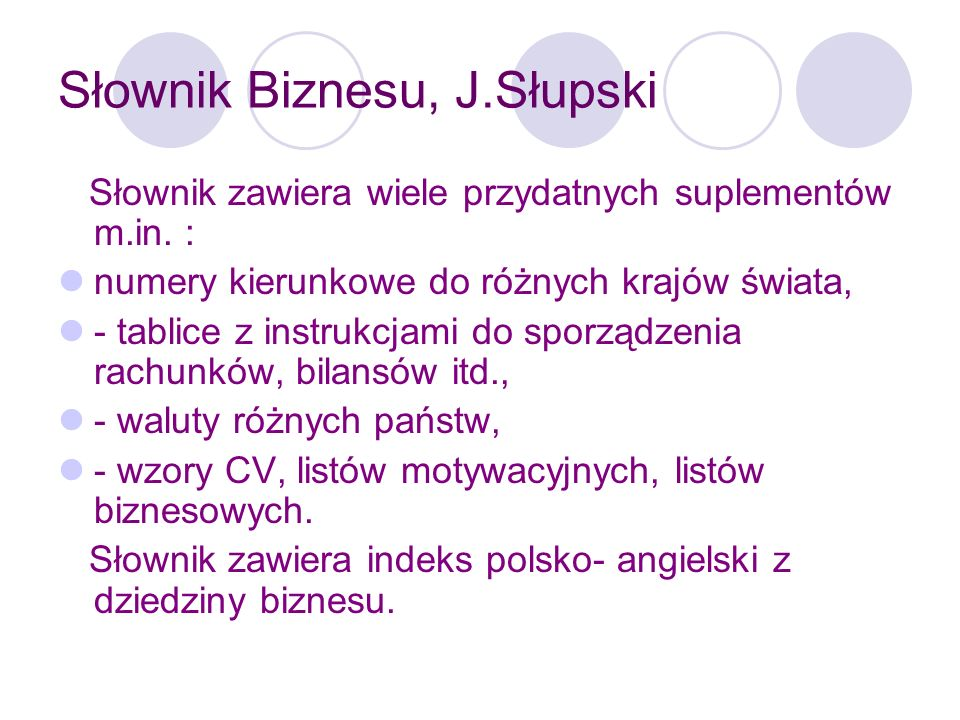 Słownik Biznesu, J.Słupski