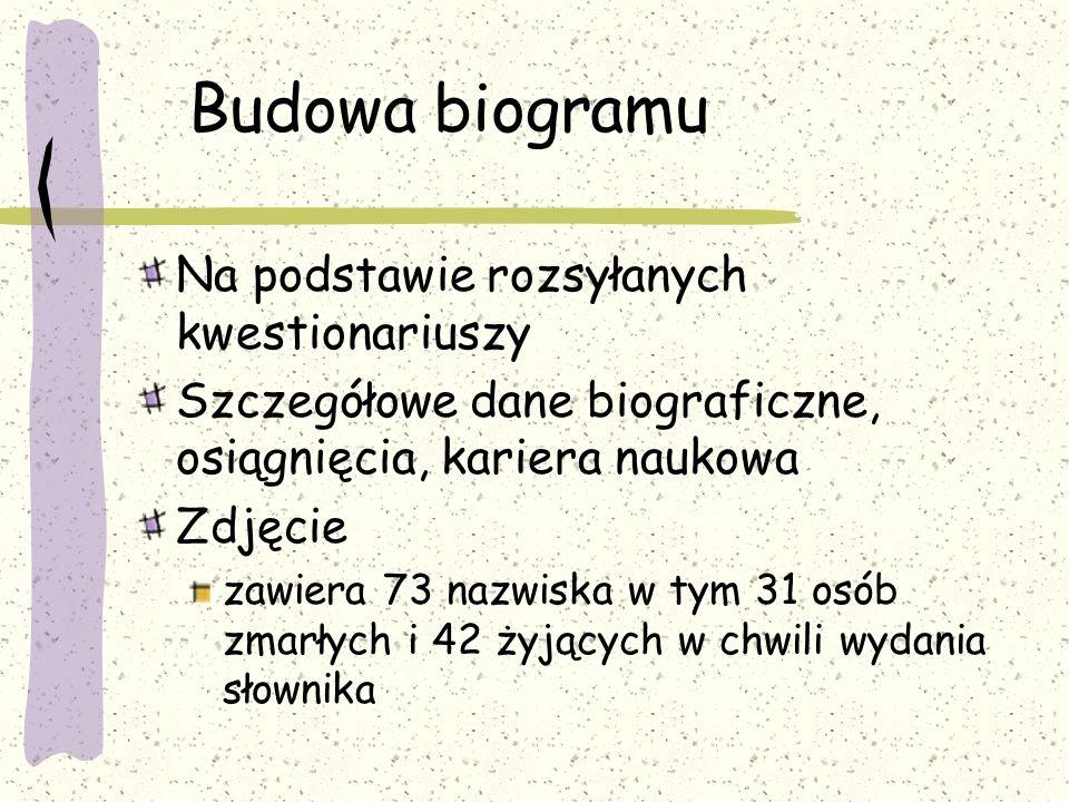 Budowa biogramu Na podstawie rozsyłanych kwestionariuszy