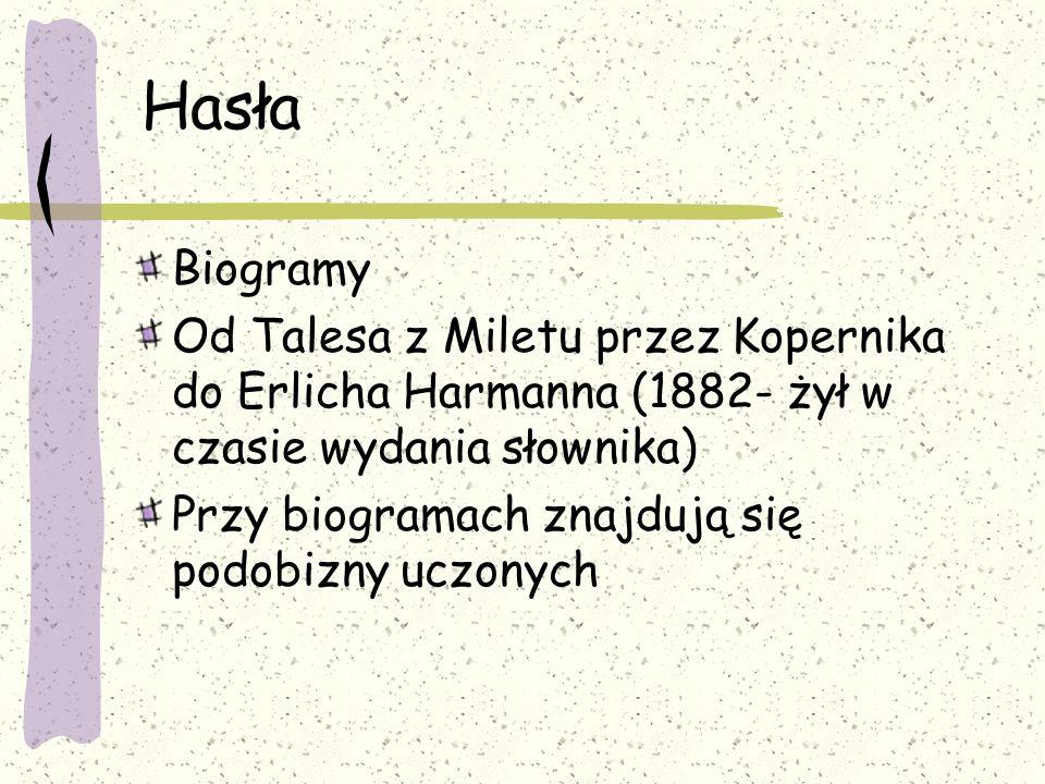 Hasła Biogramy. Od Talesa z Miletu przez Kopernika do Erlicha Harmanna (1882- żył w czasie wydania słownika)