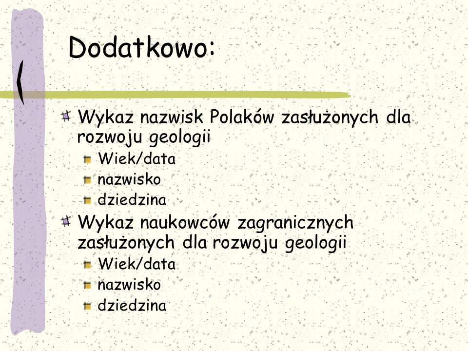 Dodatkowo: Wykaz nazwisk Polaków zasłużonych dla rozwoju geologii