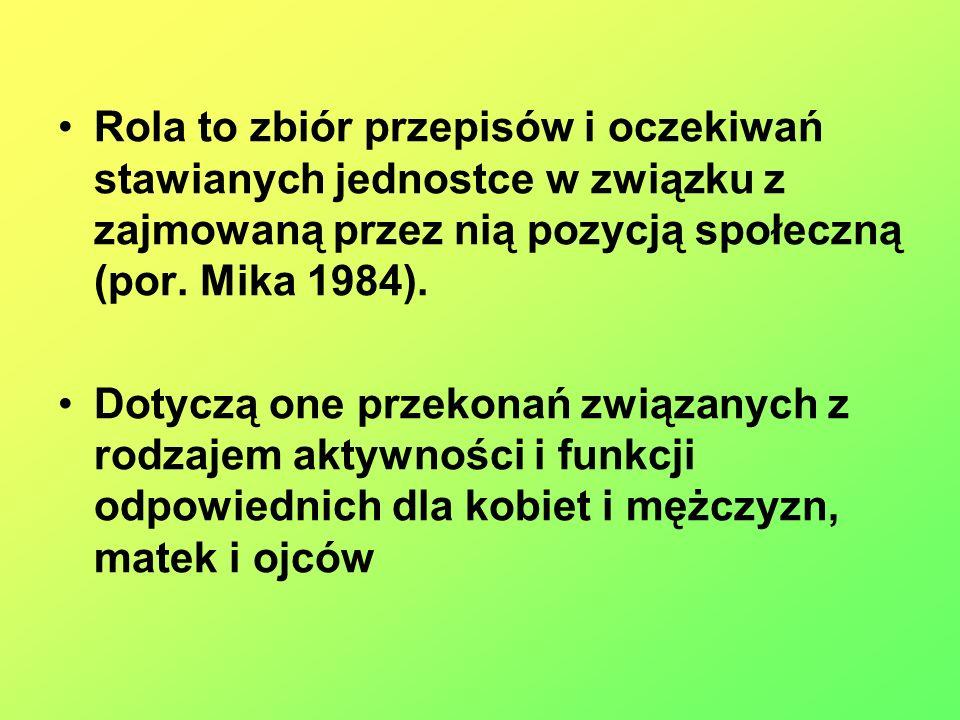 Rola to zbiór przepisów i oczekiwań stawianych jednostce w związku z zajmowaną przez nią pozycją społeczną (por. Mika 1984).