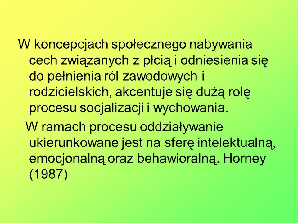 W koncepcjach społecznego nabywania cech związanych z płcią i odniesienia się do pełnienia ról zawodowych i rodzicielskich, akcentuje się dużą rolę procesu socjalizacji i wychowania.