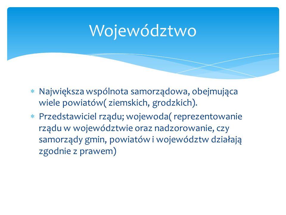 Województwo Największa wspólnota samorządowa, obejmująca wiele powiatów( ziemskich, grodzkich).