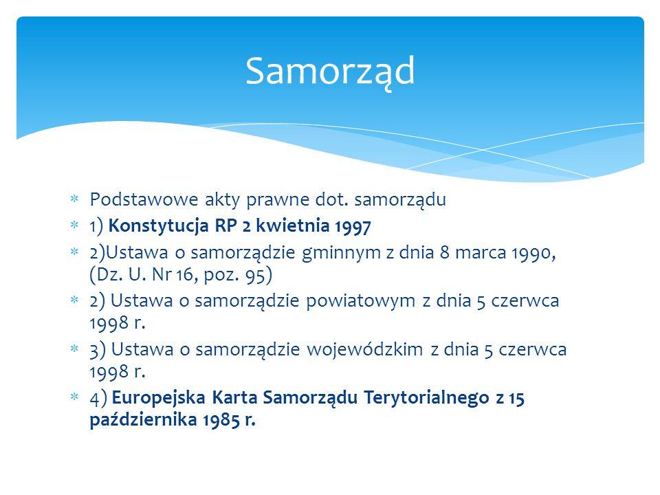 Samorząd Podstawowe akty prawne dot. samorządu