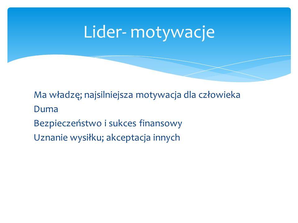 Lider- motywacje Ma władzę; najsilniejsza motywacja dla człowieka Duma Bezpieczeństwo i sukces finansowy Uznanie wysiłku; akceptacja innych