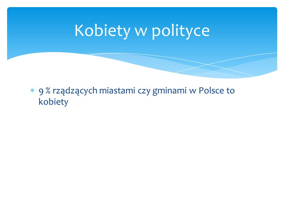 Kobiety w polityce 9 % rządzących miastami czy gminami w Polsce to kobiety