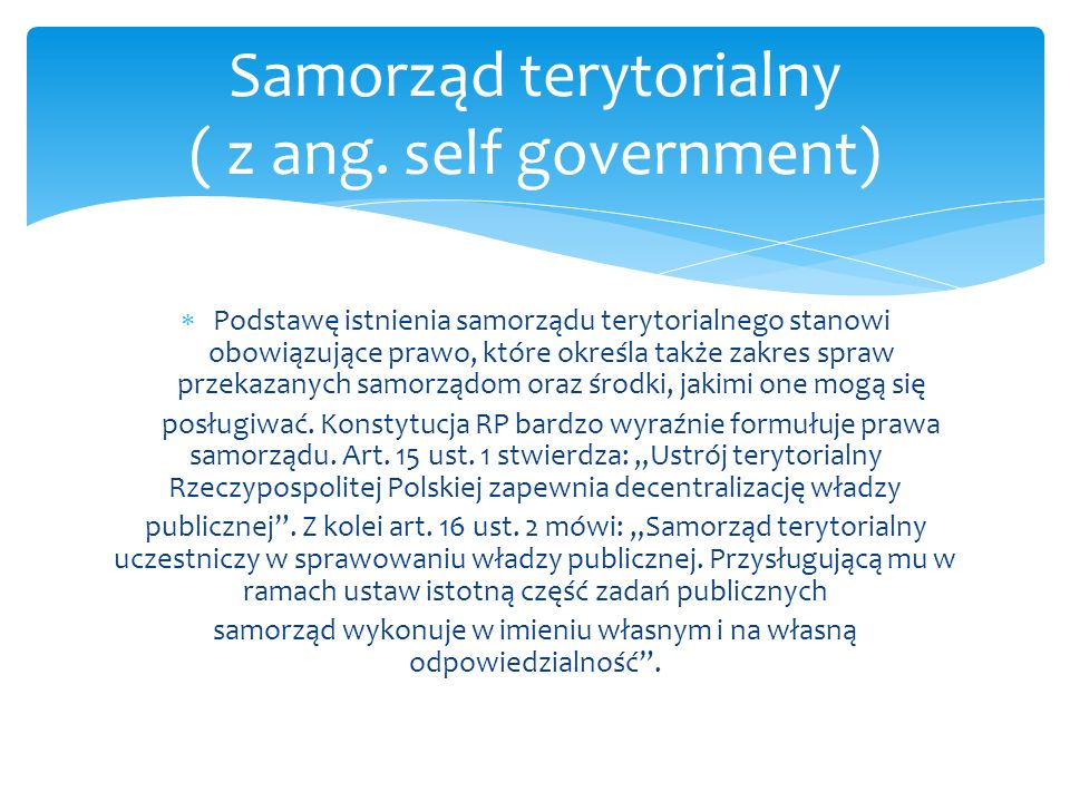 Samorząd terytorialny ( z ang. self government)