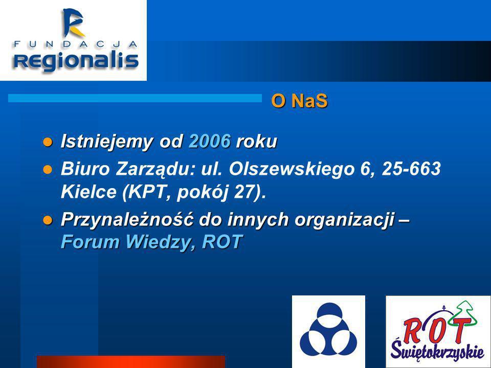 O NaS Istniejemy od 2006 roku. Biuro Zarządu: ul. Olszewskiego 6, 25-663 Kielce (KPT, pokój 27).