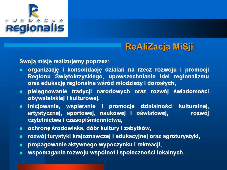 ReAliZacja MiSji Swoją misję realizujemy poprzez: