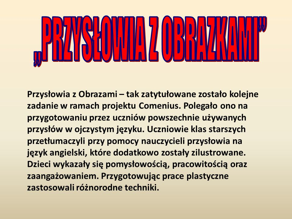 """""""PRZYSŁOWIA Z OBRAZKAMI"""