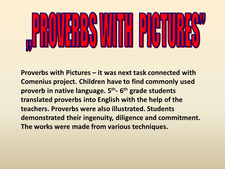 """PROVERBS WITH PICTURES"