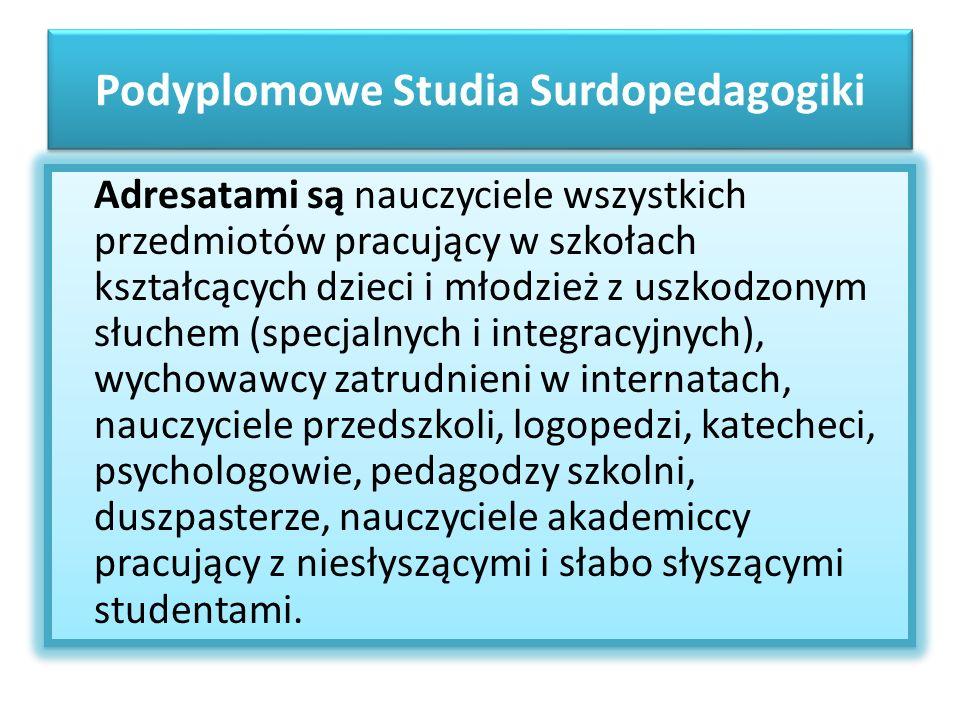 Podyplomowe Studia Surdopedagogiki