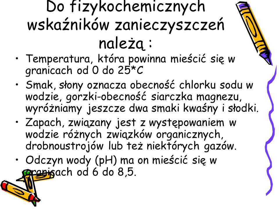 Do fizykochemicznych wskaźników zanieczyszczeń należą :