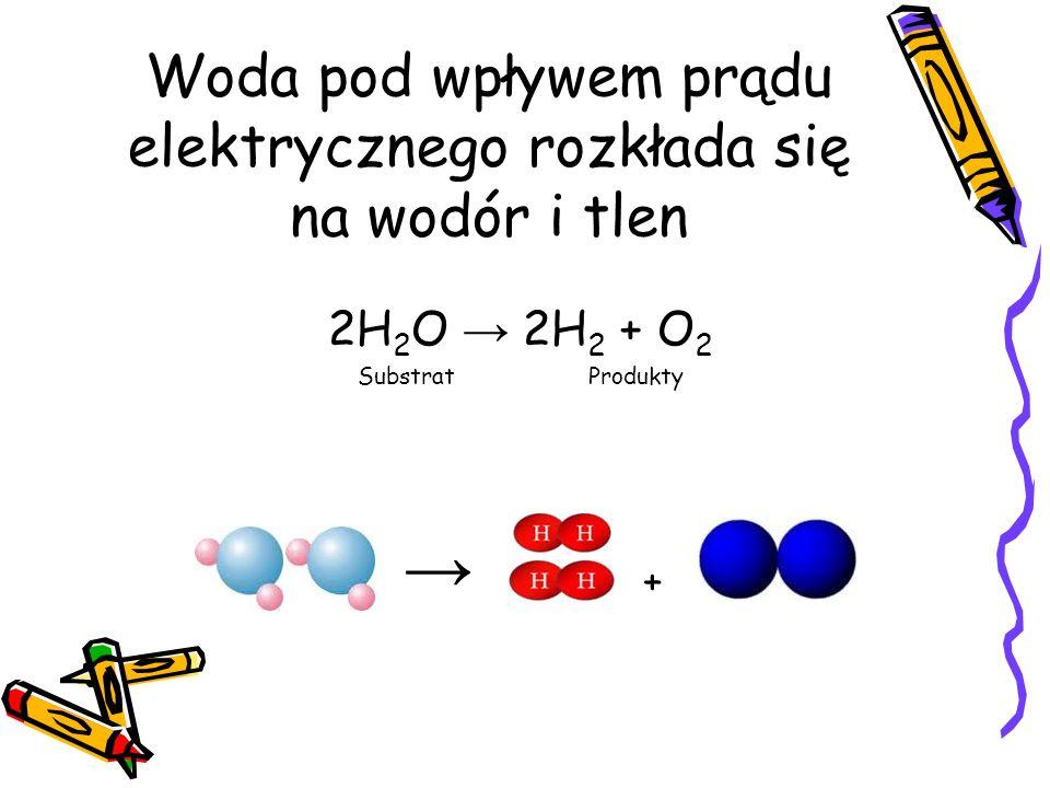 Woda pod wpływem prądu elektrycznego rozkłada się na wodór i tlen