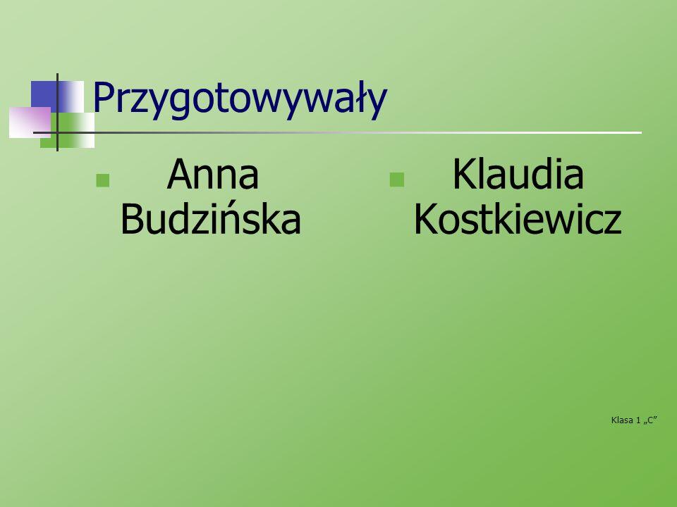 """Przygotowywały Anna Budzińska Klaudia Kostkiewicz Klasa 1 """"C"""