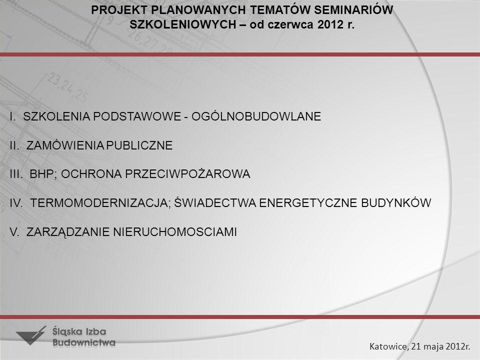 PROJEKT PLANOWANYCH TEMATÓW SEMINARIÓW SZKOLENIOWYCH – od czerwca 2012 r.