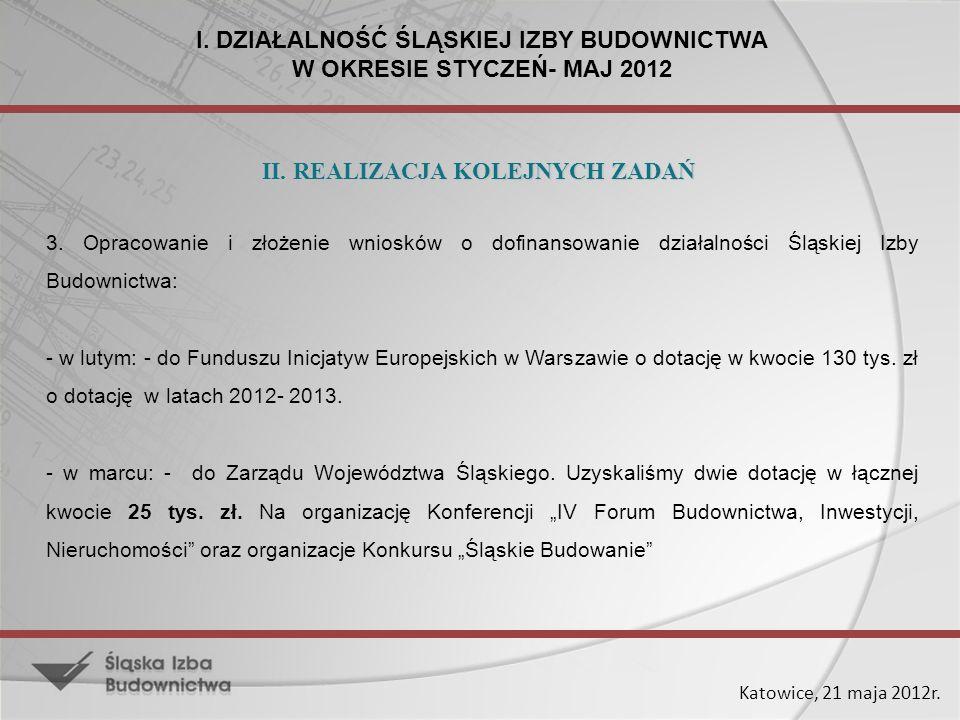 I. DZIAŁALNOŚĆ ŚLĄSKIEJ IZBY BUDOWNICTWA W OKRESIE STYCZEŃ- MAJ 2012