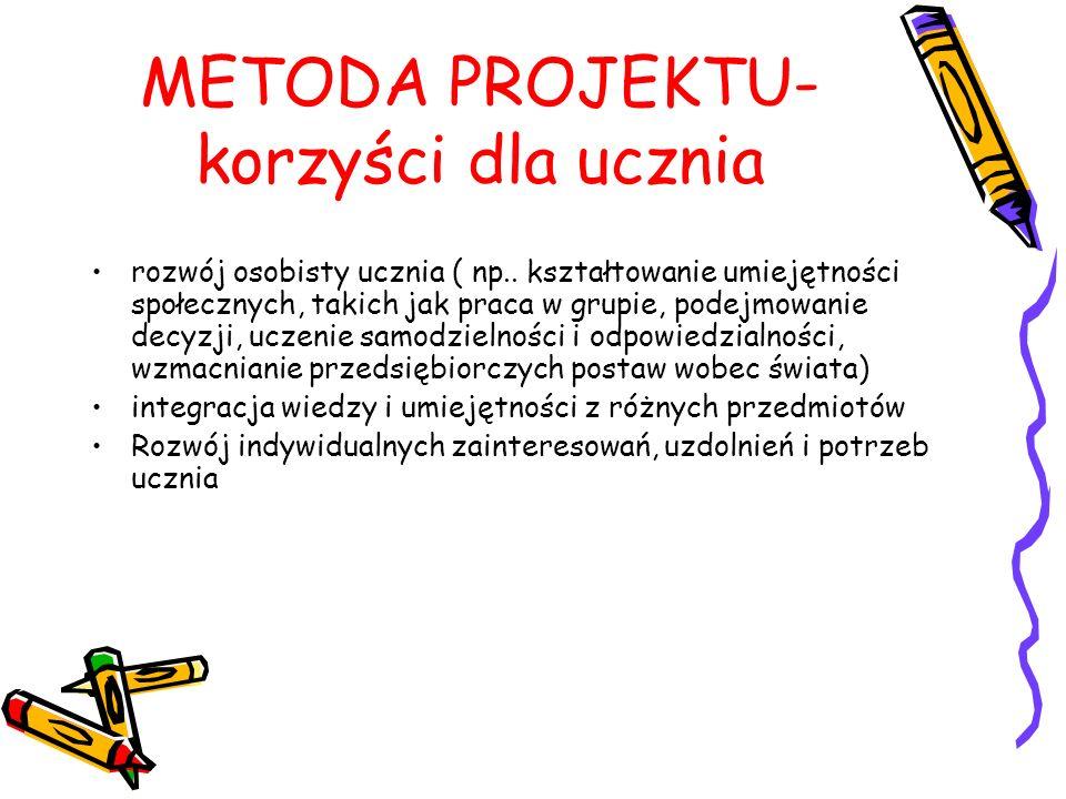 METODA PROJEKTU- korzyści dla ucznia
