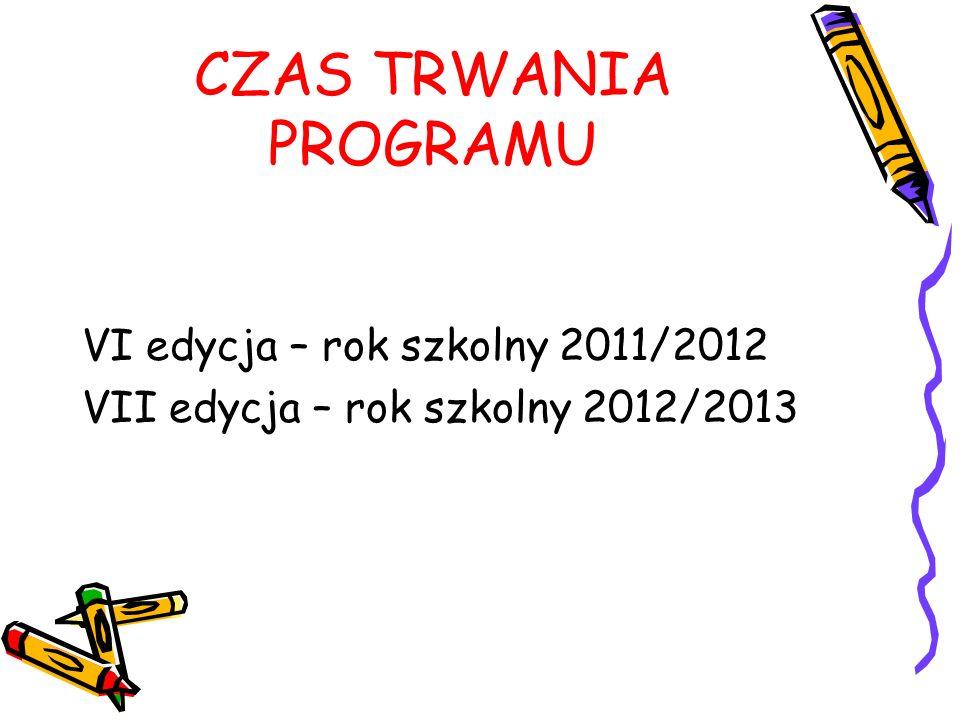 CZAS TRWANIA PROGRAMU VI edycja – rok szkolny 2011/2012