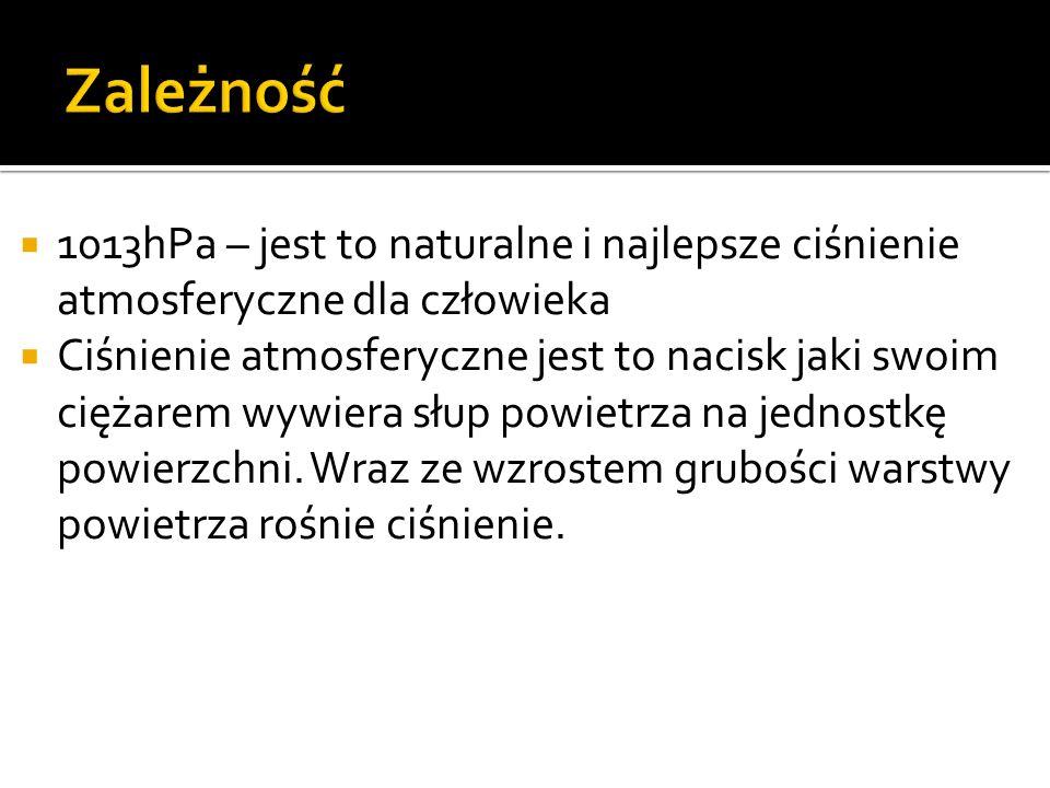 Zależność 1013hPa – jest to naturalne i najlepsze ciśnienie atmosferyczne dla człowieka.