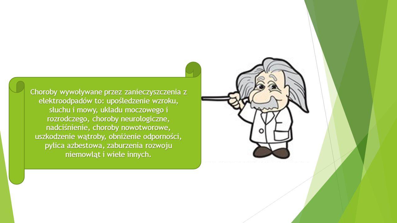 Choroby wywoływane przez zanieczyszczenia z elektroodpadów to: upośledzenie wzroku, słuchu i mowy, układu moczowego i rozrodczego, choroby neurologiczne, nadciśnienie, choroby nowotworowe, uszkodzenie wątroby, obniżenie odporności, pylica azbestowa, zaburzenia rozwoju niemowląt i wiele innych.