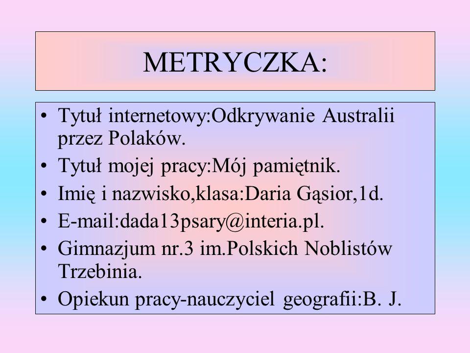 METRYCZKA: Tytuł internetowy:Odkrywanie Australii przez Polaków.