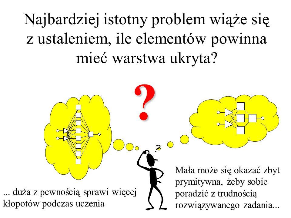 Najbardziej istotny problem wiąże się z ustaleniem, ile elementów powinna mieć warstwa ukryta