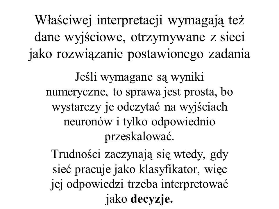 Właściwej interpretacji wymagają też dane wyjściowe, otrzymywane z sieci jako rozwiązanie postawionego zadania