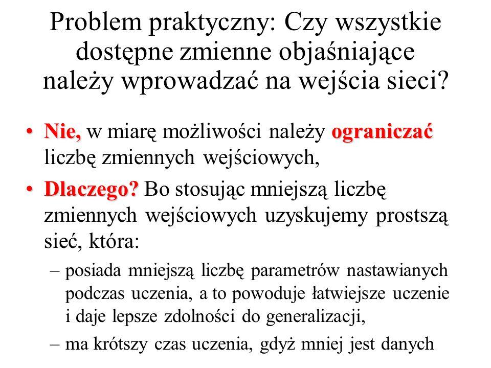 Problem praktyczny: Czy wszystkie dostępne zmienne objaśniające należy wprowadzać na wejścia sieci