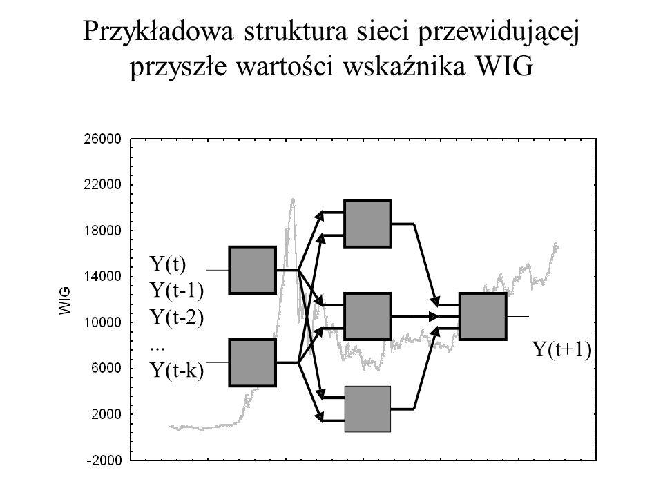 Przykładowa struktura sieci przewidującej przyszłe wartości wskaźnika WIG