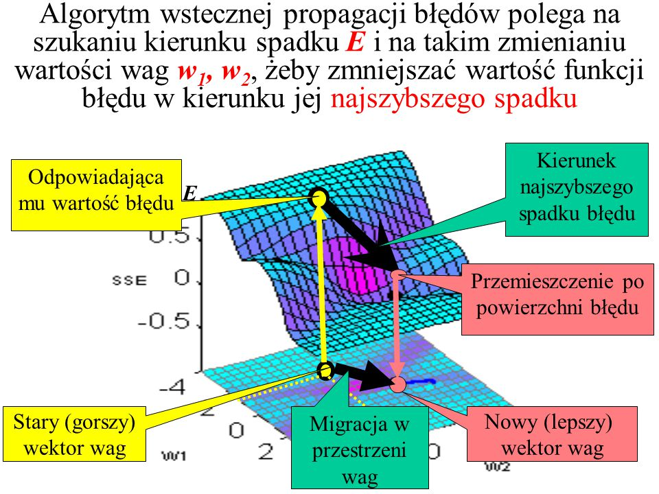 Algorytm wstecznej propagacji błędów polega na szukaniu kierunku spadku E i na takim zmienianiu wartości wag w1, w2, żeby zmniejszać wartość funkcji błędu w kierunku jej najszybszego spadku