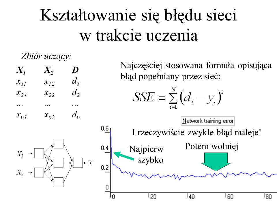 Kształtowanie się błędu sieci w trakcie uczenia